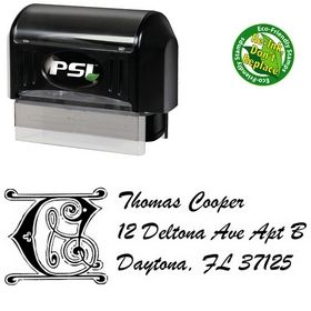 Pre-Inked Initial Brush Script Personalized Address Stamper