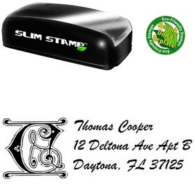 Slimline Initial Brush Script Personalized Address Stamper
