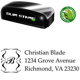 Slim Pre-Ink Palatino Linotype Initial Address Rubber Stamp