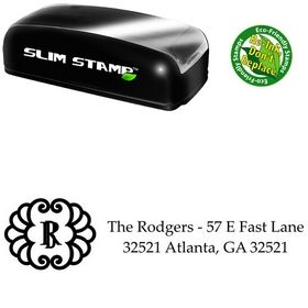Slim Pre-Inked Initial Palatino Custom Address Stamper