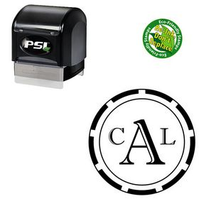 Pre-Ink Imprint Shadow Custom Round Monogram Stamp