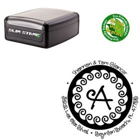 Compact Curly Q Personal Address Monogram Stamp