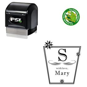 PSI Pre-Ink Imprint Shadow Personalized Monogram Rubber Stamp