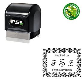 PSI Pre Inked French Script Personalized Initial Rubber Stamp