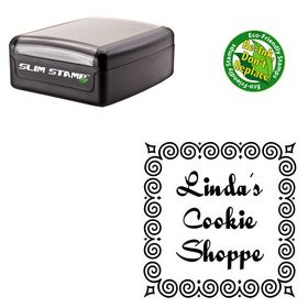 Slim Pre Ink Quigley Wigley Personalized Round Rubber Stamp
