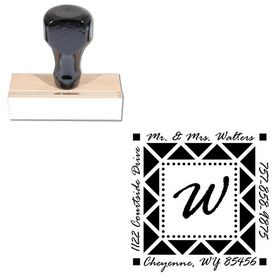 Rage Italic Personalized Monogram Address Stamp