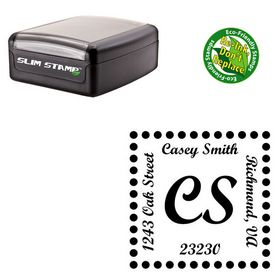 Slim Pre-Ink Script Bold Customized Monogrammed Rubber Stamp