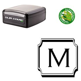 Slim Pre-Inked Copperplate Gothic Light Monogram Rubber Stamp