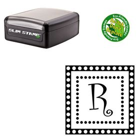 Slim Pre-Inked Curlz Rubber Initial Stamp