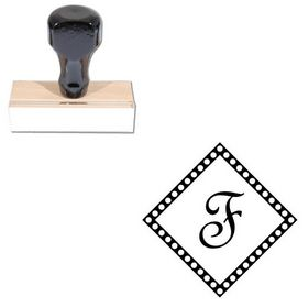 French Script Custom Made Initial Rubber Stamp