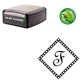 Slim Pre-Inked French Script Custom Made Initial Rubber Stamp