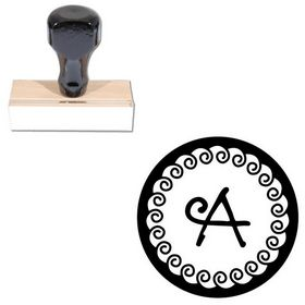 Curly Q Personalized Round Monogram Stamp