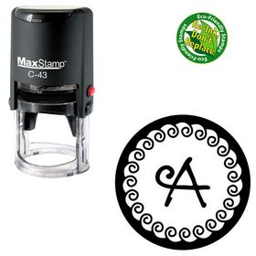 Self Inking Curly Q Personalized Round Monogram Stamp