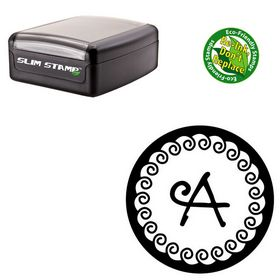 Slim Pre-Inked Curly Q Personalized Round Monogram Stamp