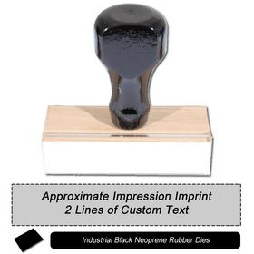 2 Line Regular Black Neoprene Rubber Stamp