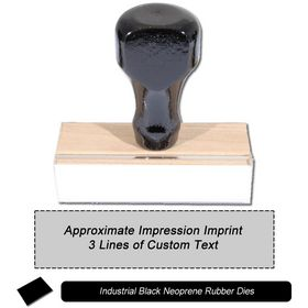 3 Line Regular Black Neoprene Rubber Stamp