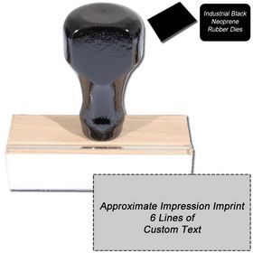 6 Line Black Neoprene Regular Rubber Stamp