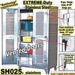 Extreme Duty Stainless Steel Vented doors Storage Cabinets / SH025