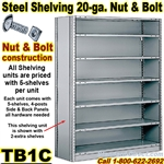 20ga. CLOSED STEEL SHELVING/ N&B / TB1C