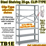 20ga. OPEN STEEL SHELVING/ CLIP / TB1E