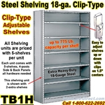 18ga. CLOSED STEEL SHELVING/ CLIP / TB1H