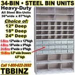 34 BIN & 18 DRAWER STEEL SHELVING / TBBINZ
