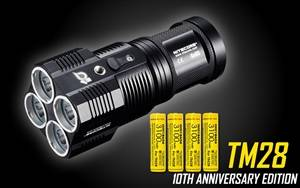 NITECORE TM28 10th Anniversary Edition 6000 Lumen Rechargeable LED Flashlight with 4x 3100mAh IMR18650 Batteries