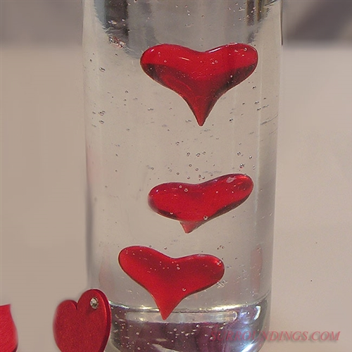 Red acrylic hearts for decorating and centerpieces