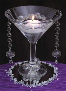 Glass stemmed martini bowl for floating candle centerpieces