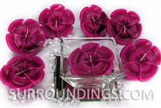 Cerise plumeria floating candle