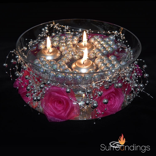 "1.6"" Mini gold & silver round floating candles"