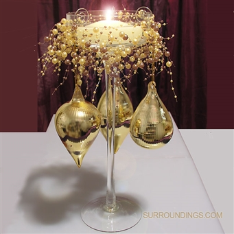 Gold drops & tower floating candle centerpiece