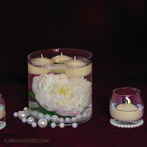 Peony & Pearls in cylinder floating candle centerpiece