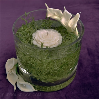 Callas & Rose Floating Candle on Fern Burst Centerpiece Kit