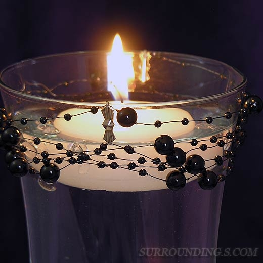 Black white floating candle centerpiece
