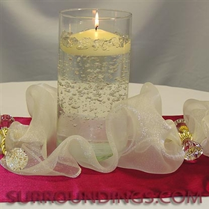 "4"" Cylinder set of 3 with 3"" accent spot floating candles and satin & organza table runners centerpiece kit"