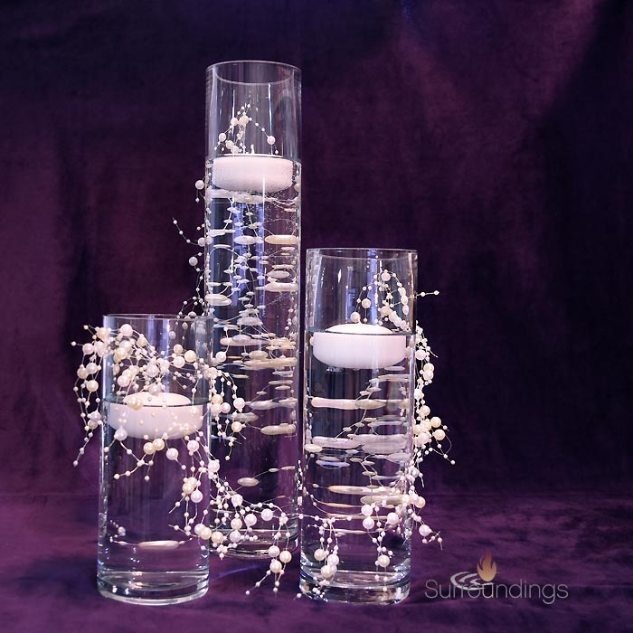 Small Cylinders amp Floating Beads Candle Centerpiece