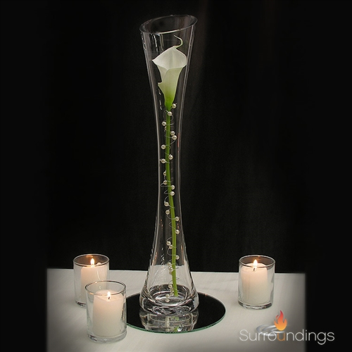 Pearled calla lily in Maria vase candle centerpiece