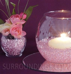 Blooms in diamond drops floating candle centerpiece