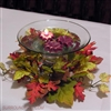 Mini Fall leaf floating candles in flare bubble bowl
