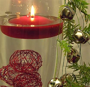 Holiday bells & spheres floating candle centerpiece kit