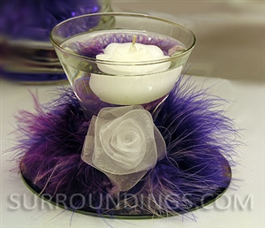 Rose in feather cuff floating candle centerpiece