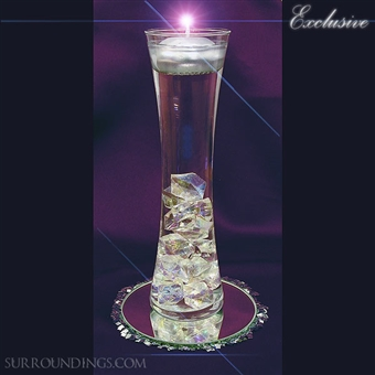 Hour vase and crystals floating candle centerpiece