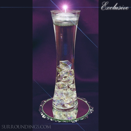 Hour vase & acrylic crystal cpk floating candle centerpiece