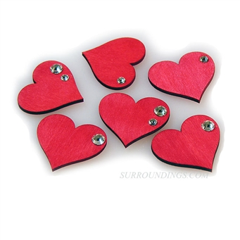 Red wooden hearts