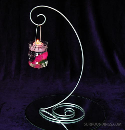 "13"" Silver Metal Swirl Stand"