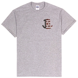 American Flag Monogram T-Shirt in Sport Grey