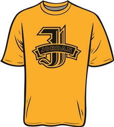 Jordan M.S. J Logo on Gold T-Shirt