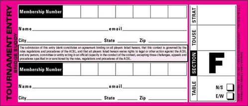 Pair Entry Forms - Pack of 500
