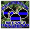 Thin Blue Line Ceramic Christmas Ornaments Set of 3